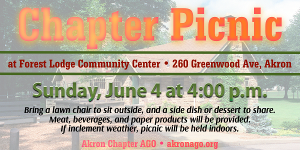 Chapter Picnic on June 4, 2017 at 4pm